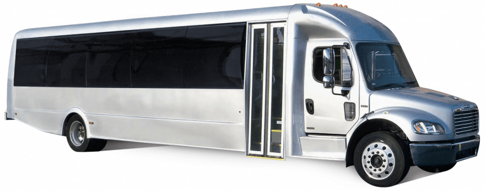 The Premier Freighliner M-2 Bus is built by Federal Coach Bus.