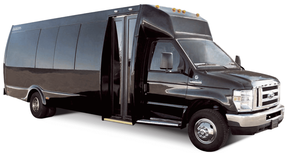 The Spirit Ford E-450 Bus is built by Federal Coach Bus.